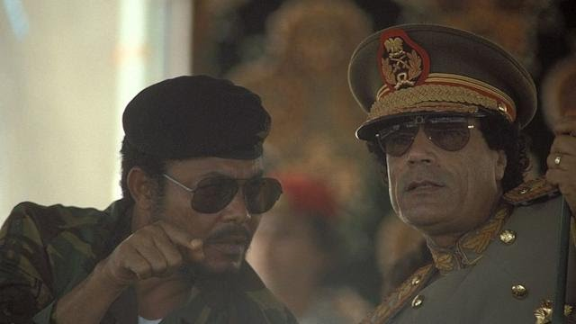 Jerry Rawlings and Muammar Gaddafi during the 18th Anniversary Of The Libyan Revolution in 1987