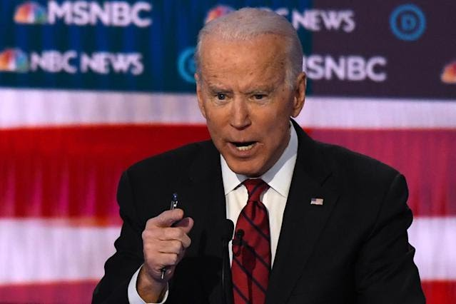 Democratic presidential hopeful former Vice President Joe Biden speaks during the ninth Democratic primary debate of the 2020 presidential campaign season. (Photo: MARK RALSTON/AFP via Getty Images)