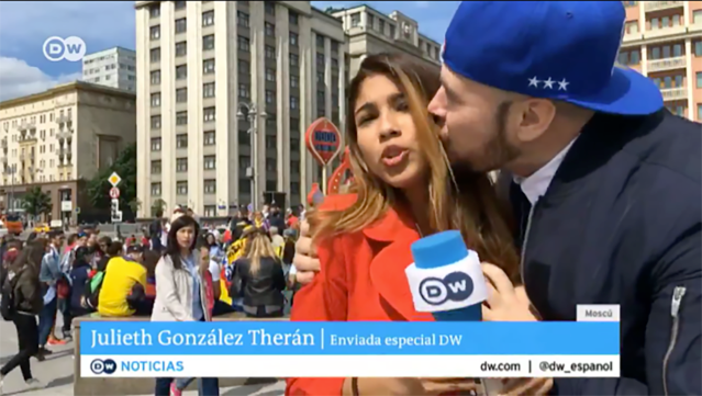 Julieth Gonzalez Theran, a reporter covering the World Cup for a German news station, was groped and kissed on the cheek during a live broadcast in Russia last week. (Twitter/DW_Espanol)
