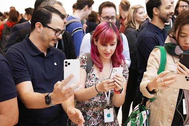 People try out the new iPhone 11 Pro during Apple's event on Tuesday, Sept. 10. (Image: Apple)
