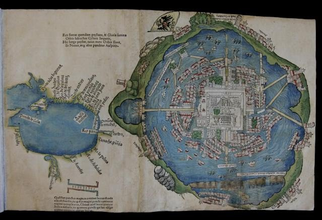 A foldout page with drawings depicting a map of an island-city, with a body of water to the left